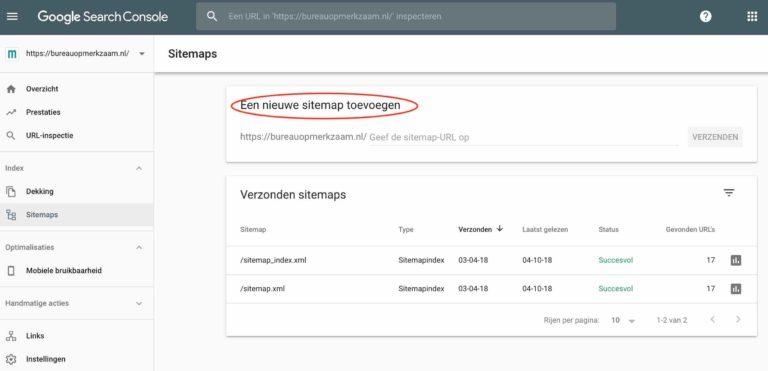 sitemap toevoegen google search console hoger in google | Bureau OpMerkzaam Utrecht